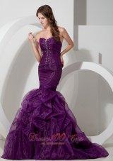 Trumpet Purple Court Train Prom Celebrity Dress Beads Organza
