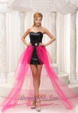 Beaded Paillette Black High-low Celebrity Dress