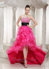 Beaded High-low Hot Pink Evening Dress Sashed