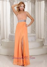 One Shoulder High Slit Orange Beads Evening Dress