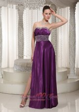 Side Split Eggplant Purple Evening Dress with Beads