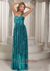 Paillette Over Skirt Teal One Shoulder Evening Gown