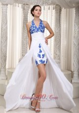 Appliques White Halter Prom Evening Dress High Low Trends