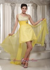 One Shoulder Beading Yellow High low Dress for Prom