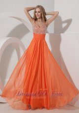 Straps Chiffon Beading Orange Prom Evening Dress