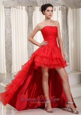 Red Organza High-low Dress For Prom Layered