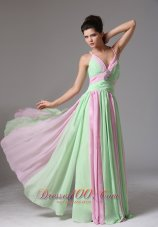 Multi-color Ruched Spagetti Straps Prom Dress