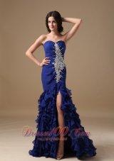 Mermaid Ruffled Front Split Blue Brush Prom Dress