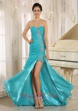 Turquoise Dama Dresses Ruffled Layers High Slit