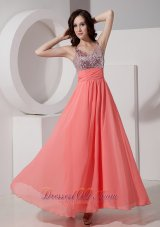 Sequined Straps Watermelon Ankle-length Prom Holiday Dress