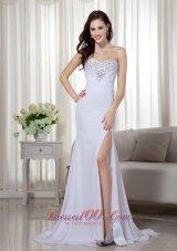 White Ruching High Slit Beaded Celebrity Dress