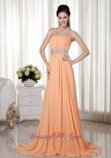 Brush Train Light Orange Beading Prom Gown Ruched