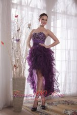 High-low Organza Purple Beads Cocktail Dress