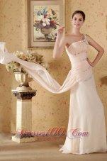 Beaded One Shoulder Watteau Train Pink Prom Dress