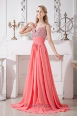 Brush Spaghetti Straps Watermelon Homecoming Gown