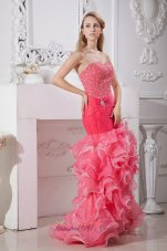 Coral Red Mermaid Prom Dress High-low Beaded