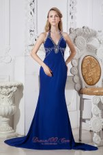 Halter Blue Chapel Train Chapel Train Prom Dress