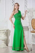 Hand Made Flowers Green One Shoulder Prom Dress