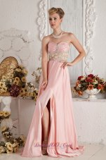 Brush Baby Pink Front Slit Prom Dress Beaded