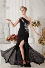 Black One Shoulder Beading Slit Prom Dress