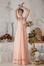 One Shoulder Peach Brush Train Prom Dress