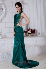 Brush Taffeta Evening Dress Teal Straps Open Back