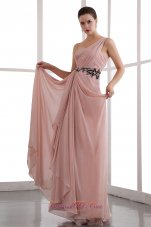 One Shoulder Appliques Peach Prom Dress Designers
