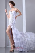 Brush Beading White Wedding Evening Dress High-low Design