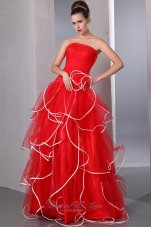 Ruffled Hem Ruffled Prom Holiday Dress Red Strapless