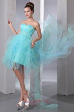 Asymmetrical Hemed Aqua Blue Prom Graduation Dress Beaded