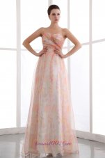 Ruched Printing Colorful Prom Dress Sweetheart