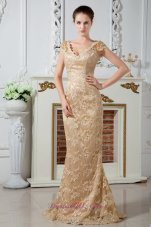 Cap Sleeve Champagne Lace V-neck Mother Dress