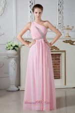 Baby Pink One Shoulder Beaded Graduation Dress