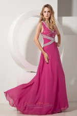 V-neck Beading Chiffon Prom dress with Appliques