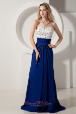 Royal and White Brush Beading Homecoming Evening Dress