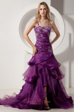 Spaghetti Straps Layered Court Purple Prom Dress
