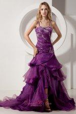 Spaghetti Straps Layered Court Purple Prom Dress