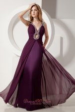 Dark Purple V-neck Prom Evening Dress Keyhole Beaded