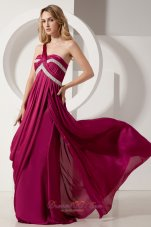 Fuchsia One Shoulder Beads Evening Dress Brush Train