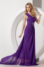 Watteau Train One Shoulder Prom Dress Beads Purple