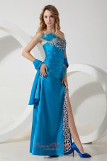 Leopard Homecoming Evening Dress Sky Blue Beaded Feather