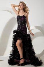 Straps Black High-low Evening Celebrity Dress Beads Layered
