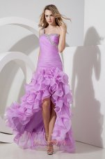 One Shoulder Lavender High-low Beading Prom Dress