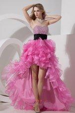Hi-lo Beaded Layers Rose Pink Prom Dress Sashed