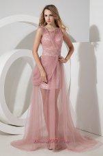 Light Pink Straps Tulle Celebrity Dress Beading