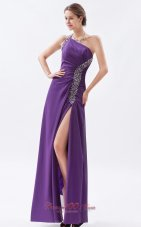 Sheath High Split One Shoulder Prom Gown Beaded