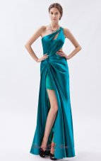 One Shoulder Beading Teal Ruched Prom Dress Keyhole