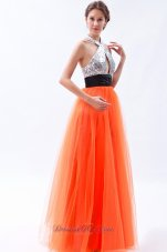 Sequined Halter Orange Red Prom Dress with Tulle