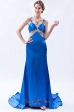 Beadwork Straps Royal Blue Prom Dress Brush Train