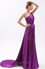 Asymmetrical Evening Dress Eggplant Purple Ruched